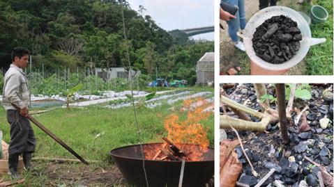 fabrication de charbon activé aux EM à la ferme test